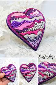 Valentine heart gift Beaded felt brooch pin <b>Modern</b> embroidery art ...