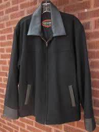 mens large black wool zip jacket genuine leather trim lined hoofs hides euc