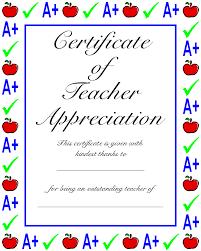 Teachers Appreciation Certificate Certificate Of Teacher Appreciation