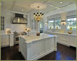 kitchens with white cabinets and dark floors. White Shaker Kitchen Cabinets Dark Wood Floors Kitchens With And A