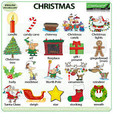 Christmas Chart Images Christmas Vocabulary In English Video And Chart