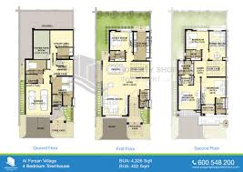 Floor Plans Of Al Forsan Village4 Bedroom Townhouse Floor Plans
