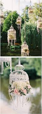 Romantic birdcages with flowers and pearls