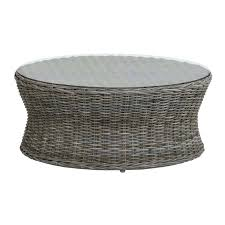 rattan coffee table round wicker glass top