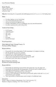 Mortgage Loan Processor Resume Sample Examples Printable