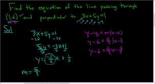 equation of line passing through 1 6 and perpendicular to 3x 5y 1