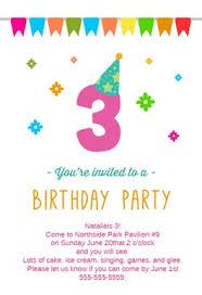 3rd Birthday Party Free Birthday Invitation Template Greetings