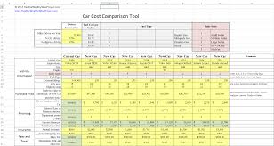 Auto Comparison Chart Car Cost Comparison Tool For Excel