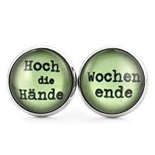 Schmuckzucker Damen Ohrstecker Mit Spruch Hoch Die Hände Wochenende Witzige Ohrringe Silber Farben Grün 14mm