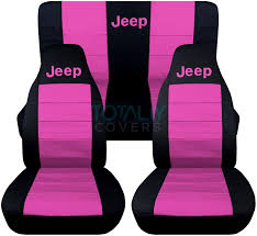jeep wrangler black and hot pink jeep logo seat covers