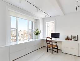 home office workspace. White Minimalist Home Office Workspace Inspiration With Walls Light Hardwood Floors And A Built-in Desk