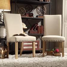 INSPIRE Q Aberdeen Beige Upholstered Nail head Parson Chair (Set of 2)