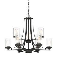 jedrek 9 light black chandelier with clear glass shade