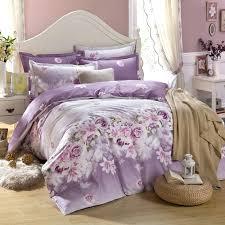 king size purple flower bedding set 100 cotton duvet cover bed linen set reactive printing plain
