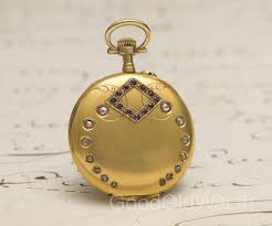 antique 1900s solid 18k gold diamonds rubies lady pocket or pendant watch