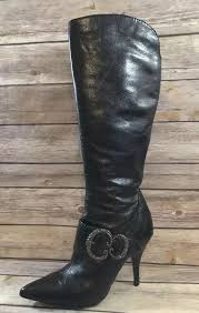 details about nine west sz 5 5 m fabulouso dark brown tall real leather boots 4 high heels