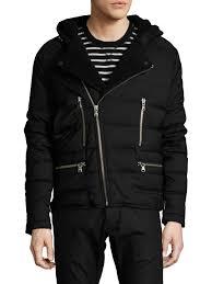 the kooples sport asymmetrical zip quilted faux fur trimmed hooded coat in black