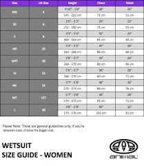 150 Cm Size Chart Animal Wetsuit Size Chart Thewaveshack Com