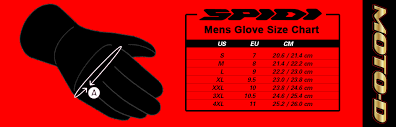 C60 Size Chart Spidi Alu Pro H2out Gloves Red