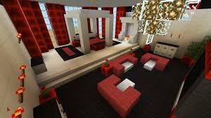 Minecraft Red Black Bed Fire Lighting Room Furniture