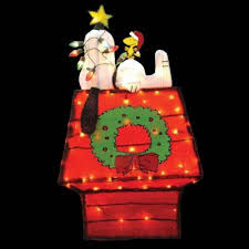 42 in. Pre-Lit 3D Tinsel Snoopy on Dog House with Star