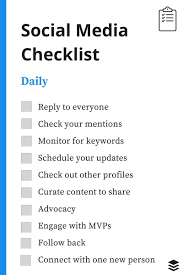 Weekly Checklist A Daily Weekly Monthly Social Media Checklist
