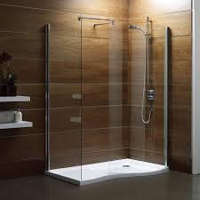 bathroom corner walk in shower design ideas with half glass wall divider also round head
