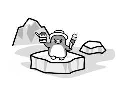 氷の上に立つペンギンの白黒イラスト かわいい無料の白黒イラスト モノ