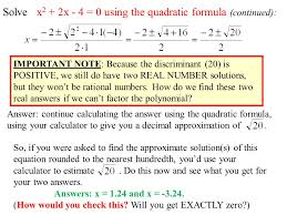 coming up in math 110 today section 8 2 quadratic formula