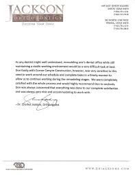 Letter Of Recommendation For A Dentist Clients Corner Canyon Construction