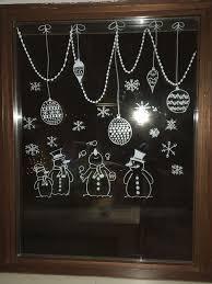 Kreidestift Schneemann Fensterbilder Weihnachten