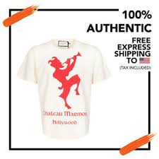 Gucci Men S Shirt Size Chart Details About Nwt Authentic Gucci Men White Chateau Marmont Print T Shirt Short Sleeve Size S