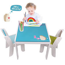table chair for toddler. Labebe Wooden Activity Table Chair Set, Blue Hedgehog Toddler For 1-5 Years