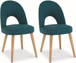 bentley designs oslo oak dining chair teal fabric upholstered pair