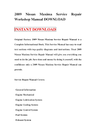 2009 nissan maxima service repair workshop manual 2009 nissan maxima service repairworkshop manual instant