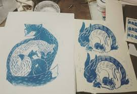 Foxes and bunnies by Janelle Crawford-Hine. | Art, Nursery art, Linocut