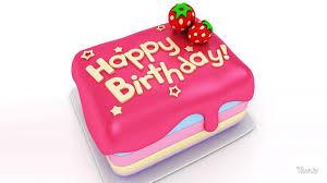 Happy Birthday Pink Strawberry Cake Hd Wallpaper