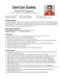 Sample Resume Format Sample Resume Format For Electrical Engineer DiplomaticRegatta 60