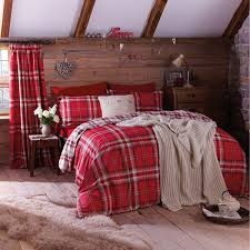 catherine lansfield kelso reversible tartan check duvet cover set red king linens limited