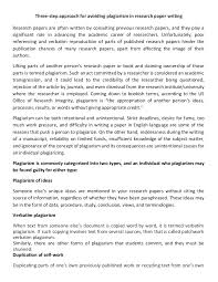 three step approach for avoiding plagiarism in research paper writing