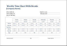 timesheet hours employee weekly time sheets with and without breaks excel templates