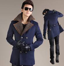 modern navy blue stylish gent pea coat