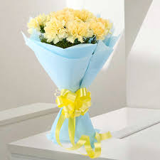 sundripped yellow carnations bouquet hyderabad gifts