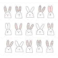 かわいい白い野ウサギのセットですうさぎピンク ベクター画像