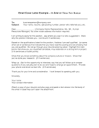 Cover Letter Email Example Sample For Job Application Nardellidesign