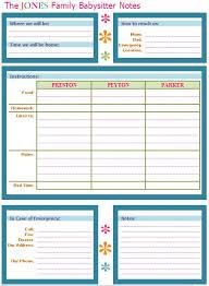 babysitter information sheet printable 10 march featured space kids babysitter buddy babysitter notes