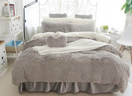 63 fluffy solid gray and white color blocking 4 bedding sets duvet cover