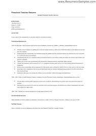 Sample Preschool Teacher Resume Resume For A Preschool Teacher