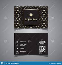Gold Card Office Elegant Business Card Design With Gold Pattern Stock