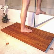 Teak bathroom mat